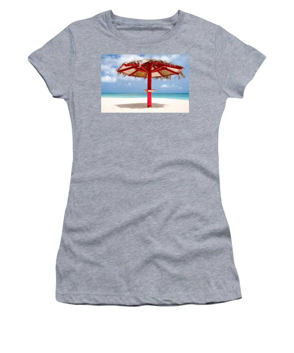 Sand Haven Women's T-Shirt featuring the photograph Sand Haven Beach Hut by Ferry Zievinger