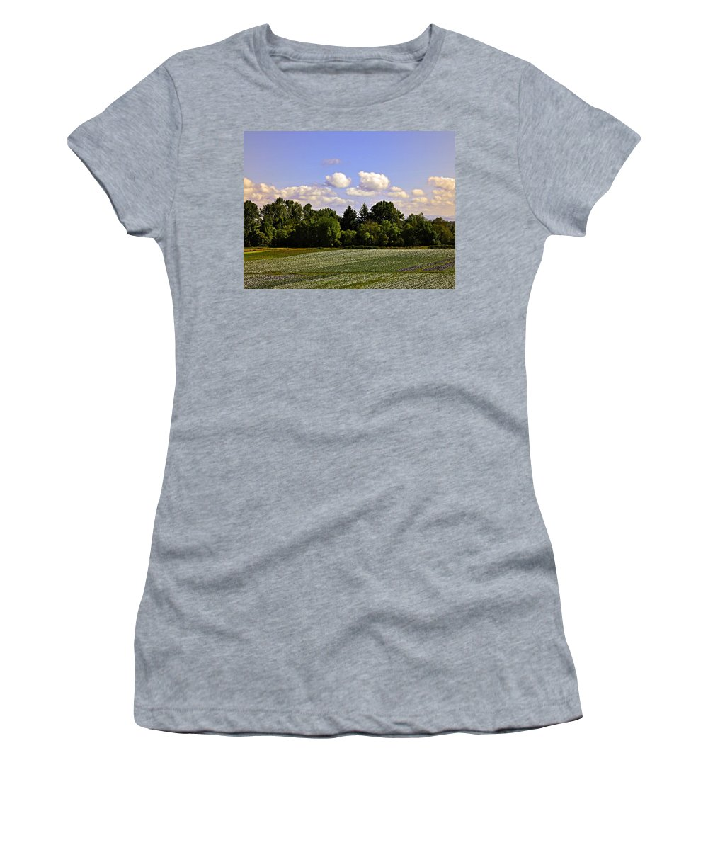 Sauvie Island Women's T-Shirt (Athletic Fit) featuring the photograph Savie Island Flower Garden by Image Takers Photography LLC - Carol Haddon