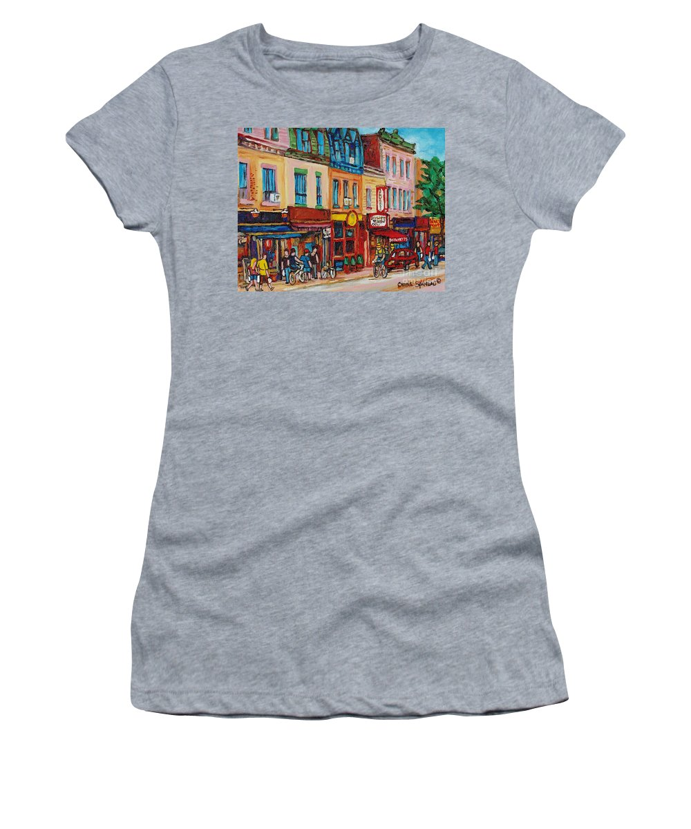 Schwartz Deli Women's T-Shirt featuring the painting Schwartzs Deli And Warshaw Fruit Store Montreal Landmarks On St Lawrence Street by Carole Spandau