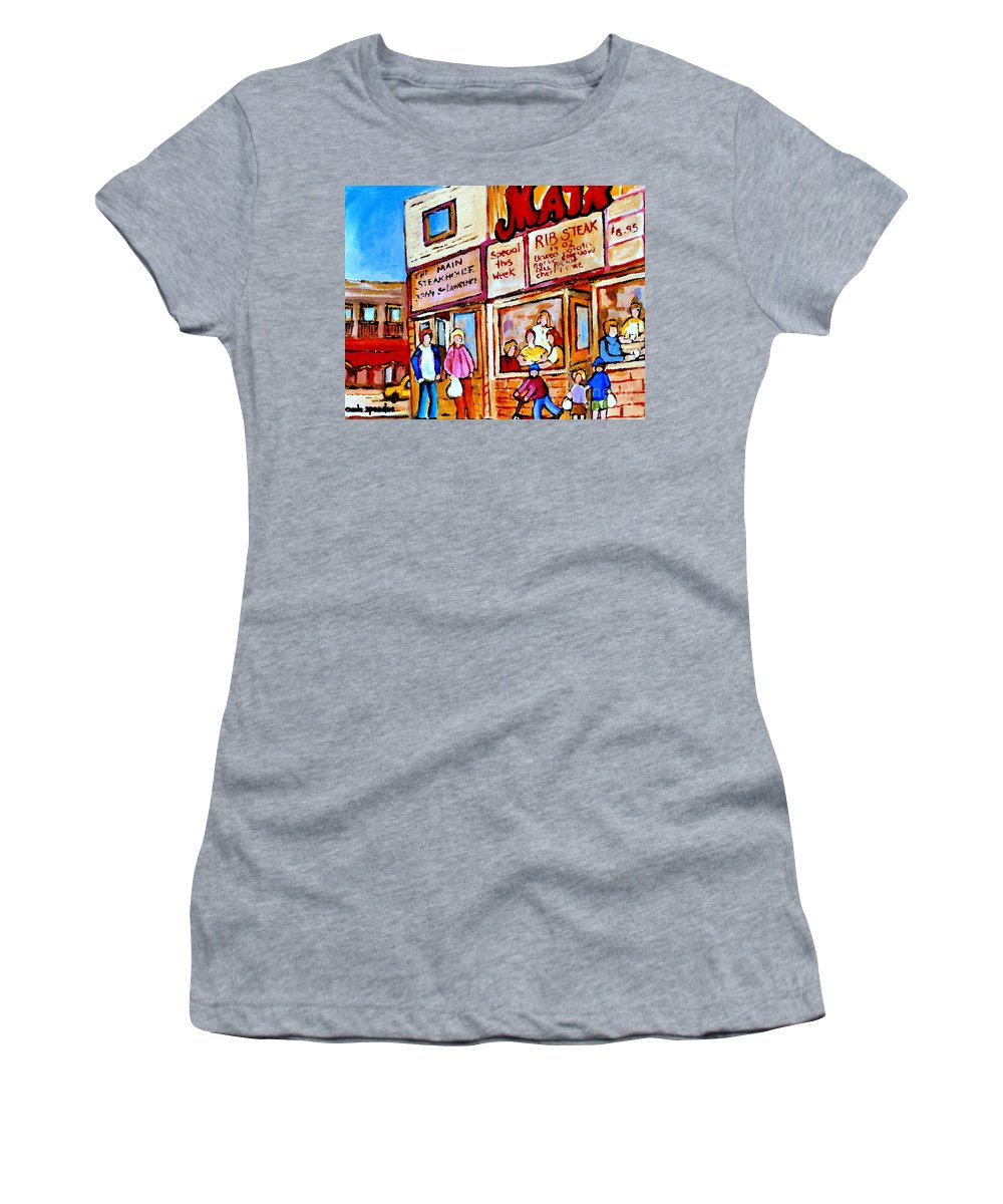 The Main Steakhouse Women's T-Shirt featuring the painting Scooting By The Main Steakhouse Authentic Montreal Paintings Prints Originals Commissions C Spandau by Carole Spandau