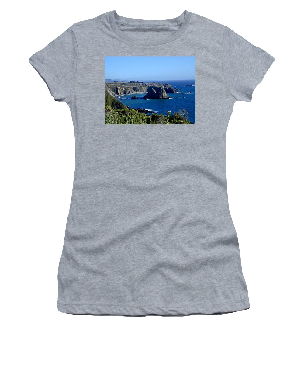 Sea Women's T-Shirt (Athletic Fit) featuring the photograph Sea Coast Of Northern California by Douglas Barnett