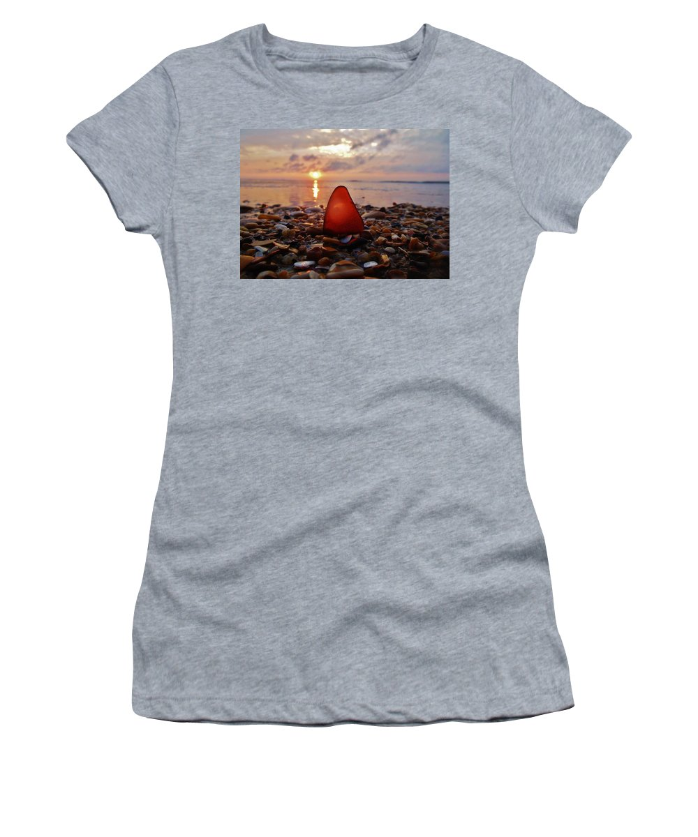 Mark Lemmon Cape Hatteras Nc The Outer Banks Photographer Subjects From Sunrise Women's T-Shirt (Athletic Fit) featuring the photograph Sea Glass Sunrise And Shells 9 10/18 by Mark Lemmon