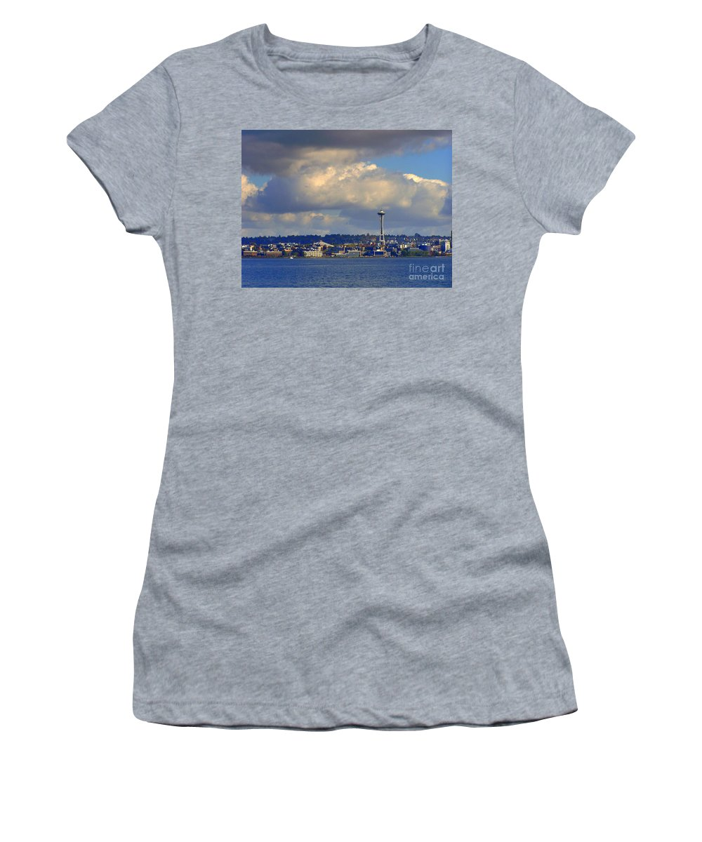 Seattle Skyline Women's T-Shirt (Athletic Fit) featuring the photograph Seattle Skyline 2 by Vicki Maheu