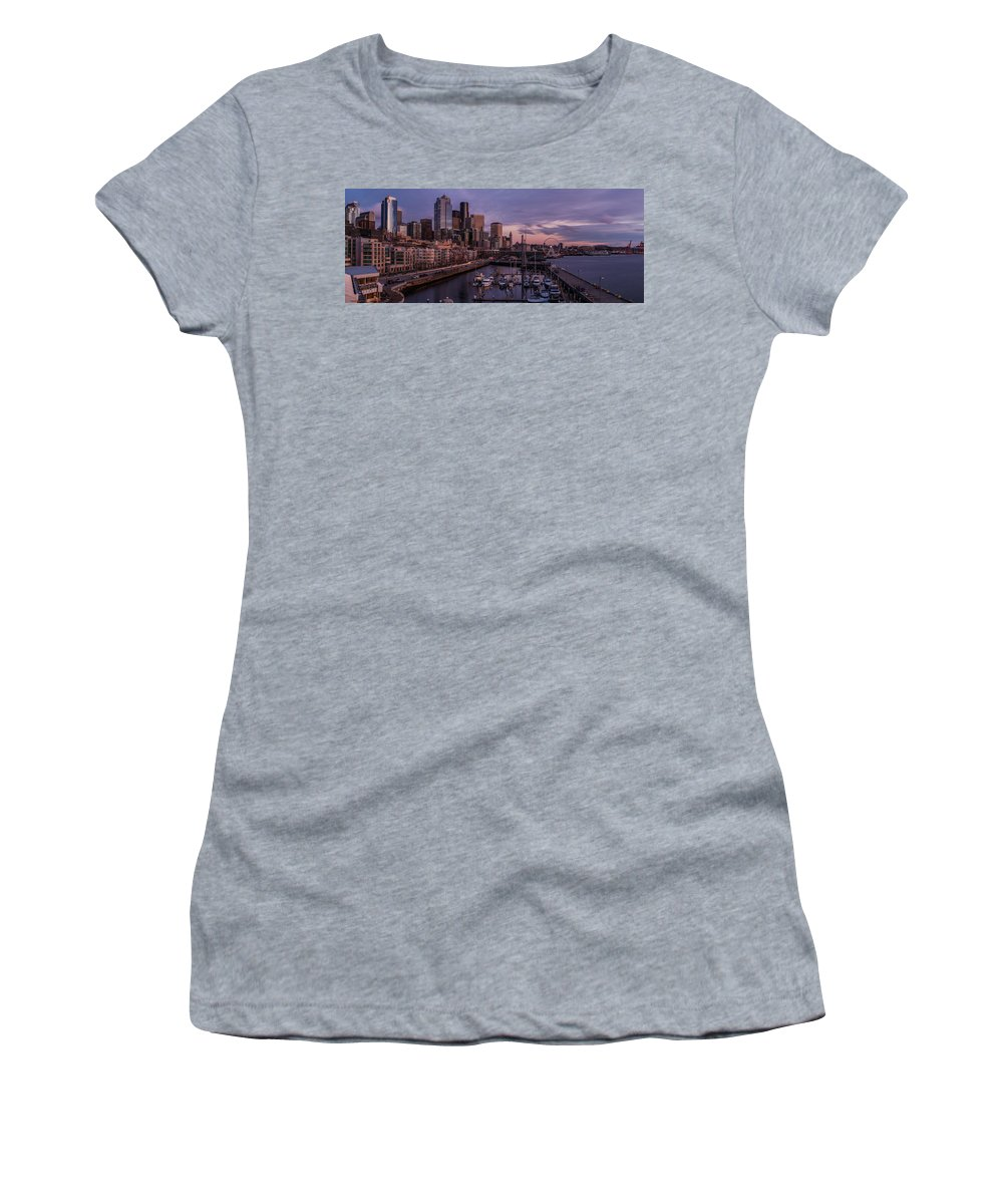 Seattle Women's T-Shirt featuring the photograph Seattle Skyline Bell Harbor Dusk by Mike Reid