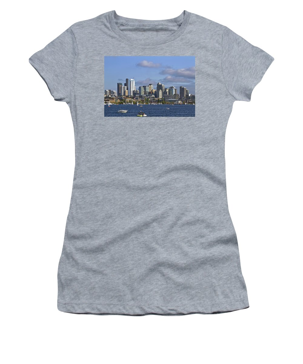 Seattle Women's T-Shirt featuring the photograph Seattle Skyline On Lake Union by David Gn