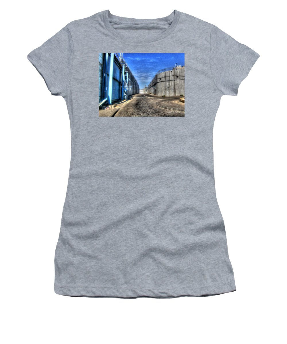 Western Wall Women's T-Shirt featuring the photograph Security Wall by Doc Braham