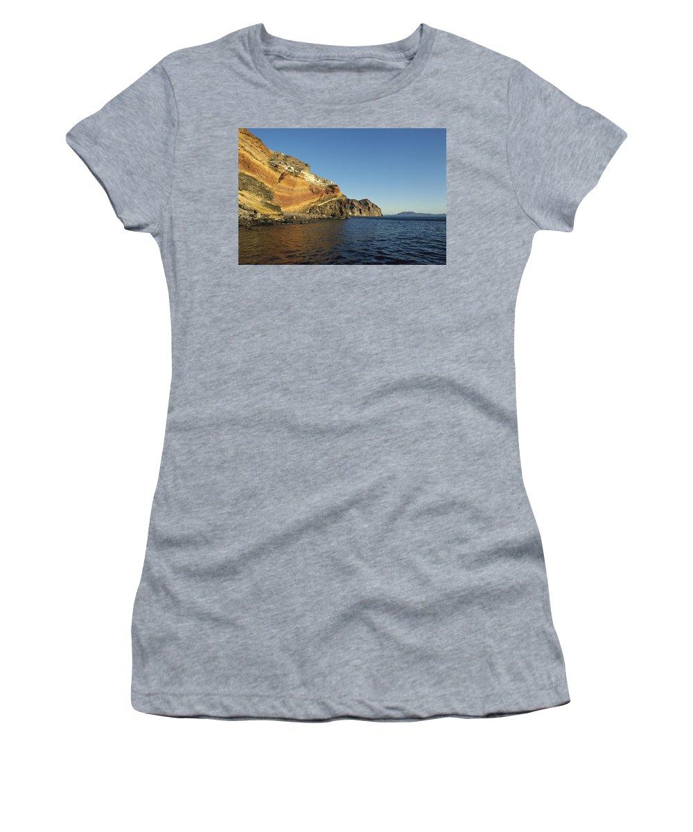 Feb0514 Women's T-Shirt (Athletic Fit) featuring the photograph Sedimentary Layers San Esteban Island by Tui De Roy