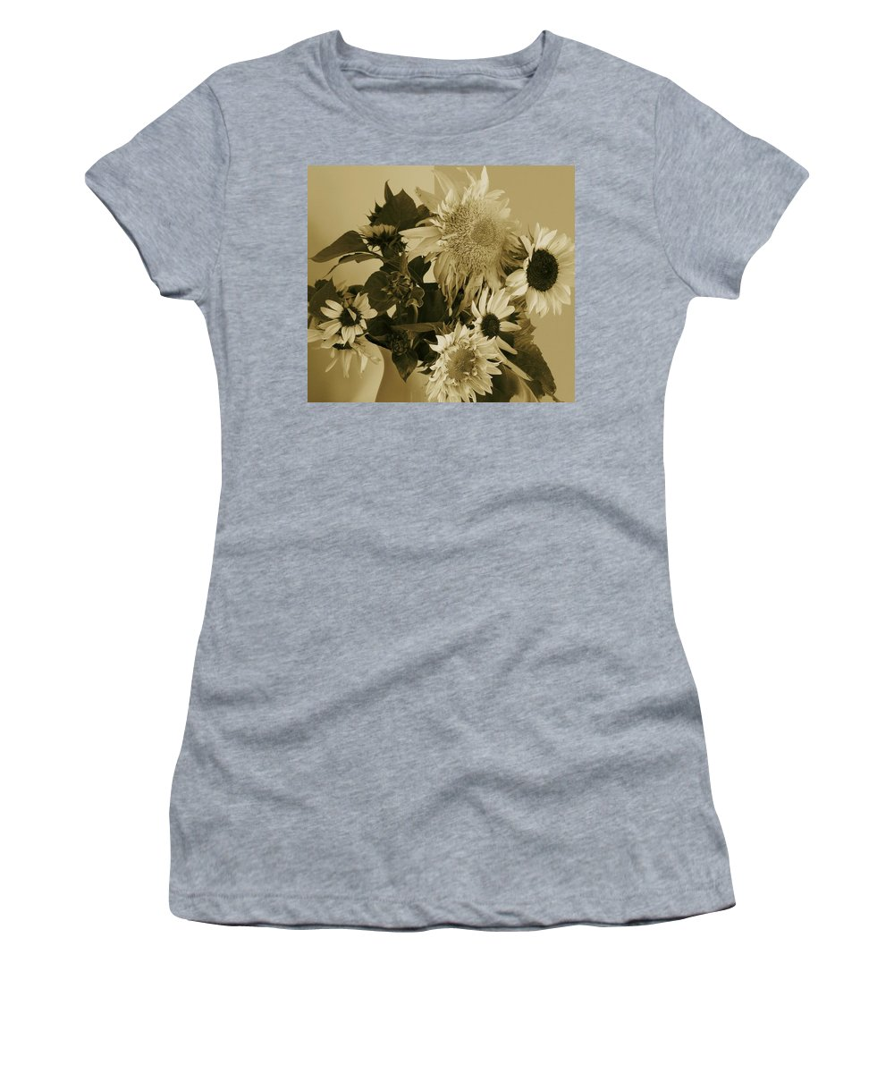 Sepia Sunflowers Women's T-Shirt (Athletic Fit) featuring the photograph Sepia Garden Sunflower Bouquet by Mary Wolf