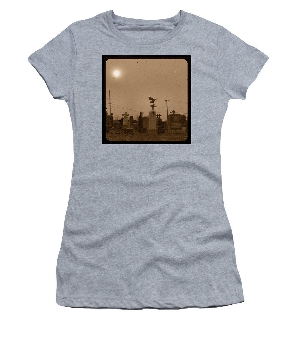 Fog Women's T-Shirt (Athletic Fit) featuring the photograph Sepia Morning Fog by Gothicrow Images