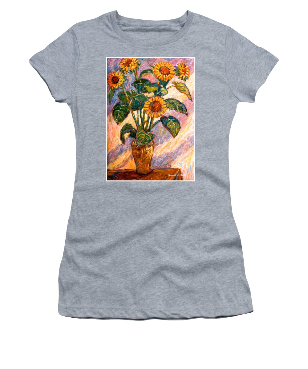 Floral Women's T-Shirt (Athletic Fit) featuring the painting Shadows On Sunflowers by Kendall Kessler