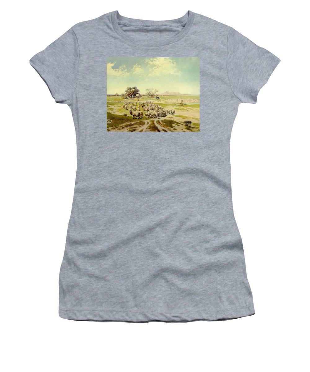 Olaf Seltzer Women's T-Shirt featuring the digital art Sheepherding Montana by Olaf Seltzer