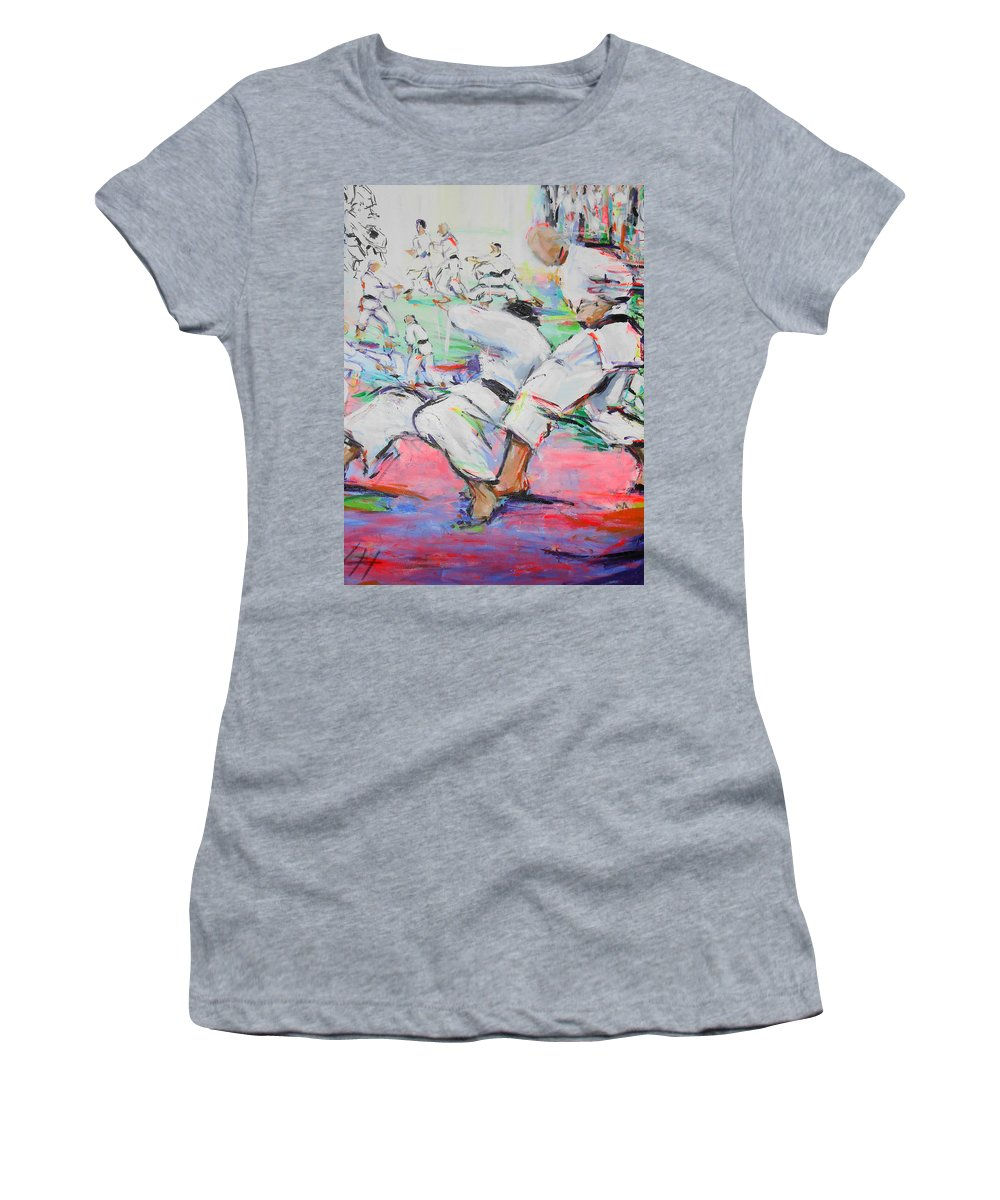 Shita Women's T-Shirt (Athletic Fit) featuring the painting Shita Ni by Lucia Hoogervorst