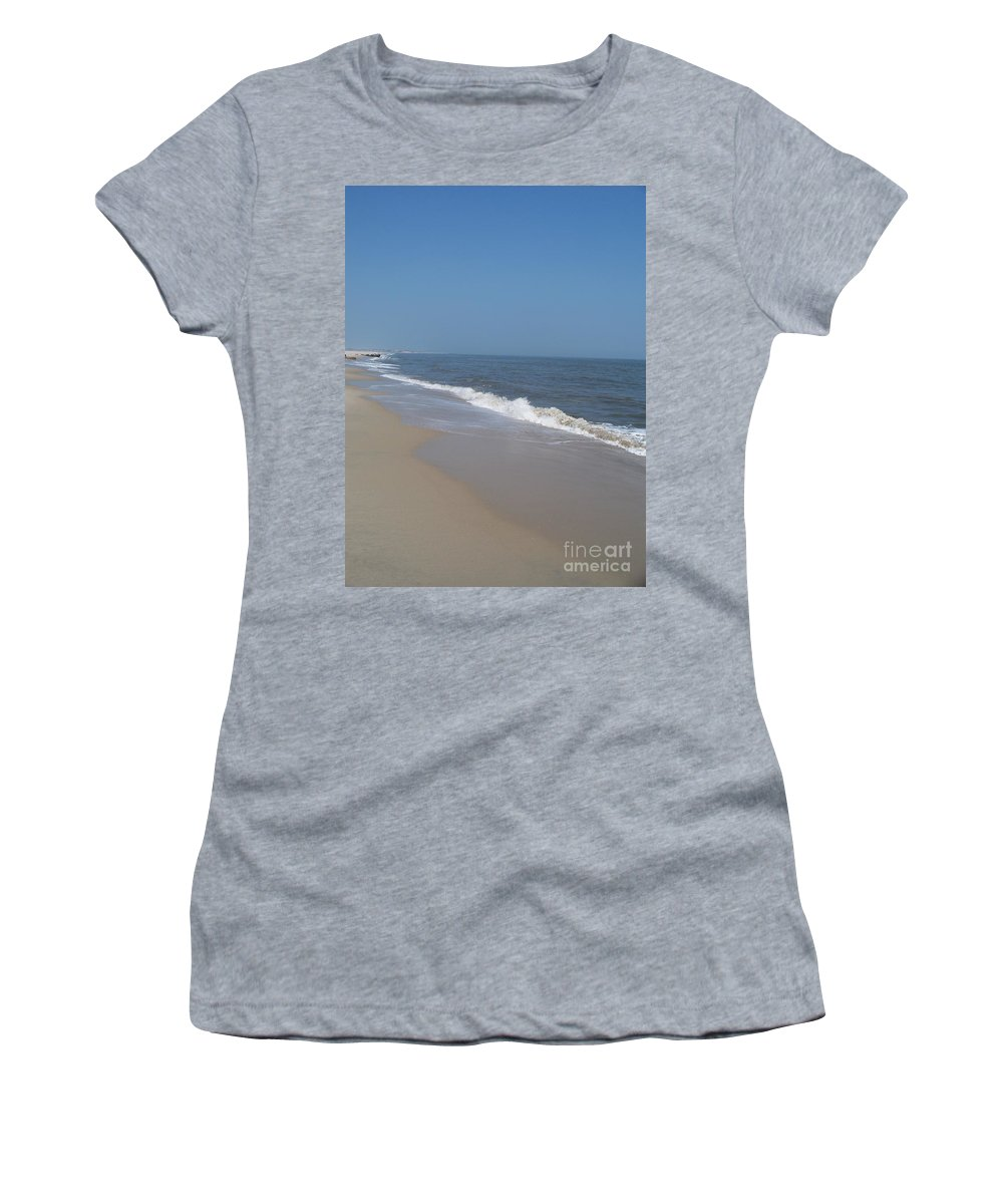 Jersey Shore Women's T-Shirt (Athletic Fit) featuring the photograph Shoreline At Cape May by Eric Schiabor