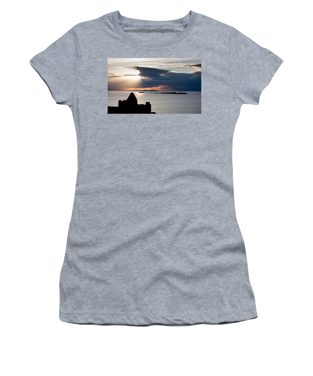 City Women's T-Shirt (Athletic Fit) featuring the photograph Silhouette Of Dunluce Castle by Semmick Photo