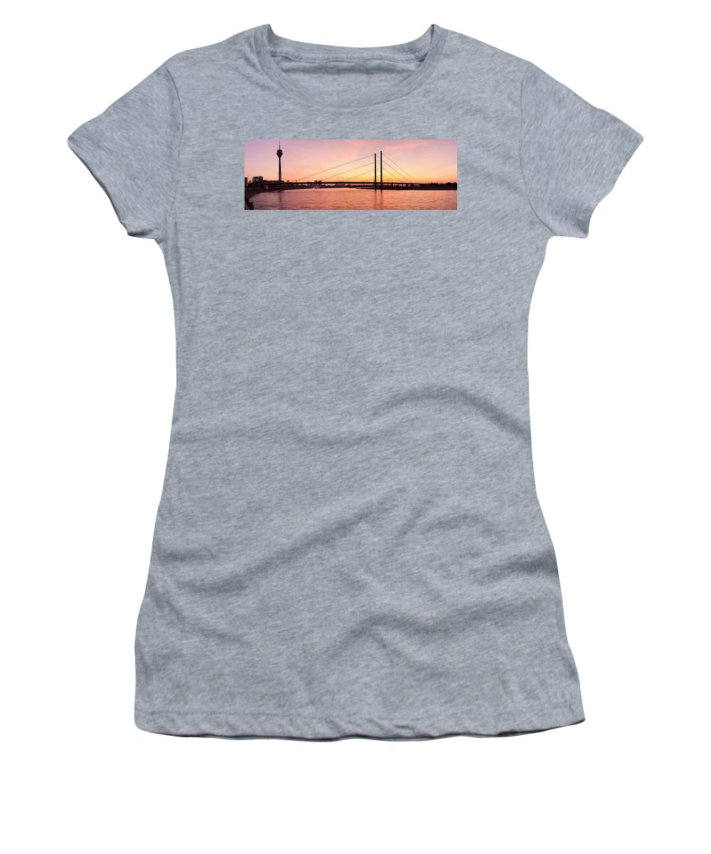 Photography Women's T-Shirt featuring the photograph Silhouette Of Rheinturm Tower by Panoramic Images
