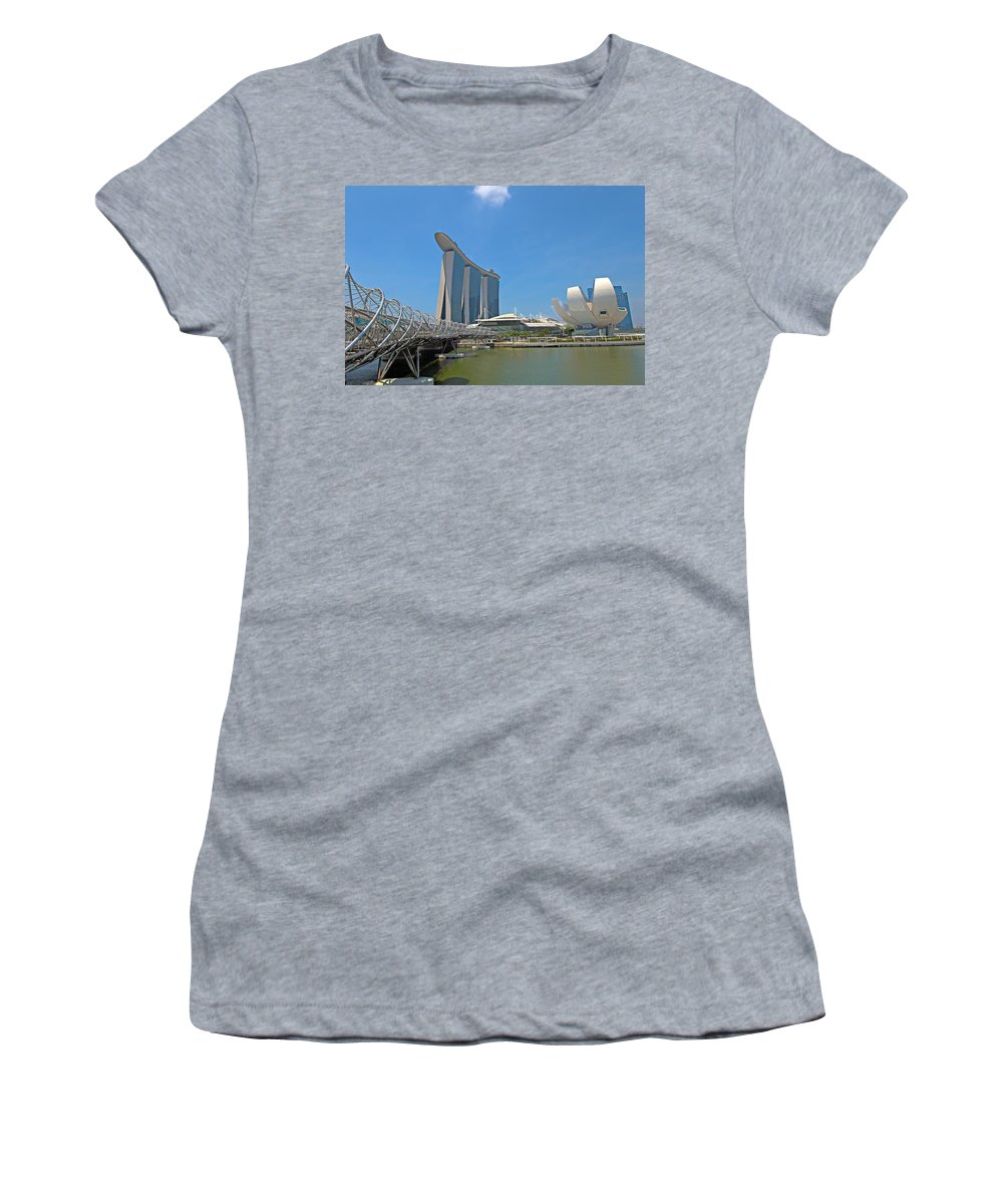 Artscience Women's T-Shirt (Athletic Fit) featuring the photograph Singapore Artscience Museum Double Helix Bridge And Marina Bay by Paul Fell