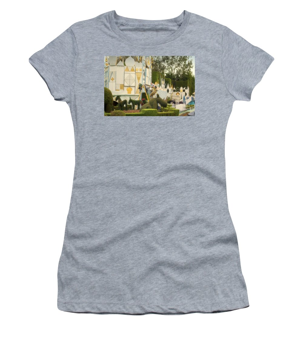 Disney Women's T-Shirt (Athletic Fit) featuring the photograph Small World Fantasyland Disneyland 02 by Thomas Woolworth