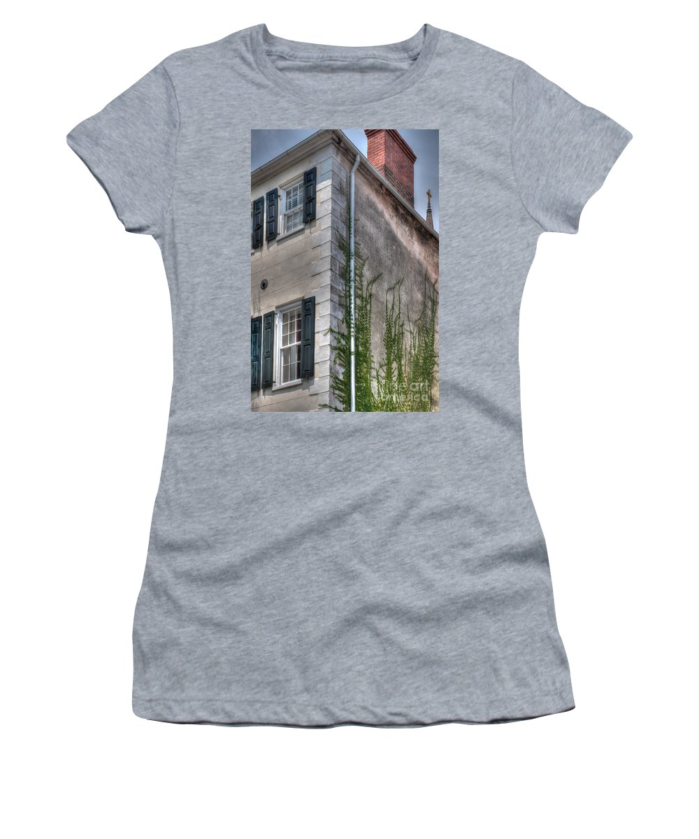 Charleston Women's T-Shirt featuring the photograph Sneak Peek At Church Steeple by Dale Powell