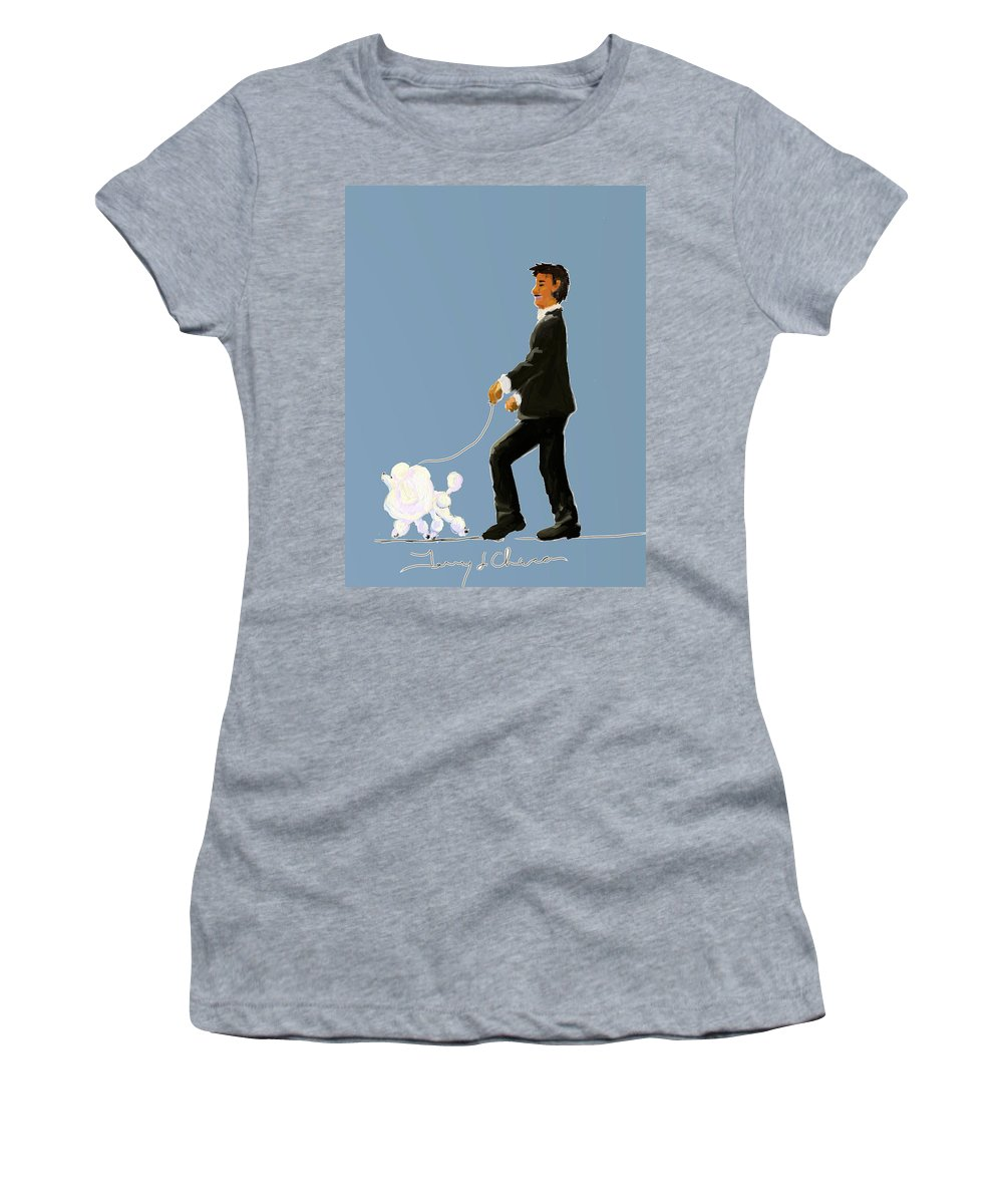 Ipad Finger Painting Women's T-Shirt featuring the painting Snooty Poodle by Terry Chacon