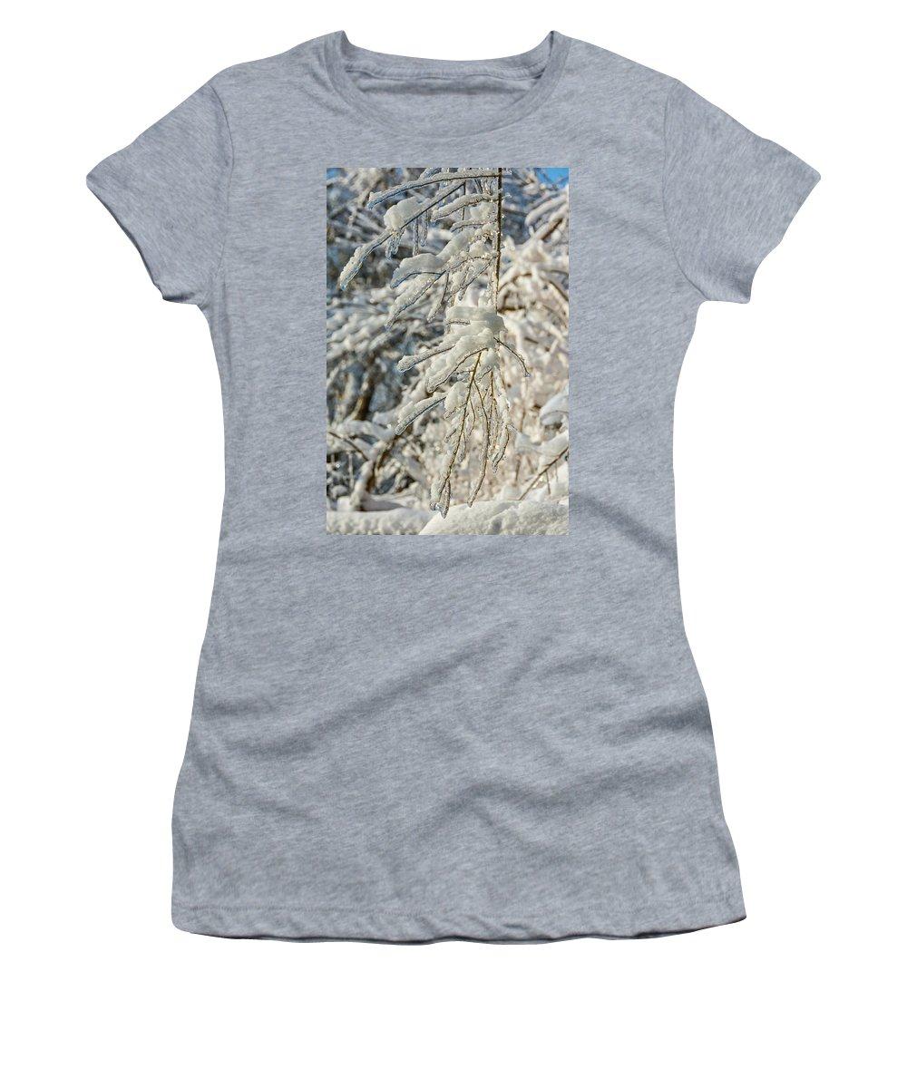 Steve Harrington Women's T-Shirt featuring the photograph Snow On Ice by Steve Harrington