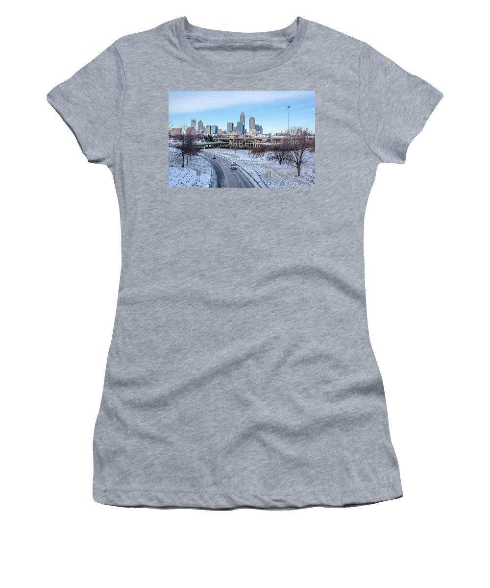 Rare Women's T-Shirt (Athletic Fit) featuring the photograph Snow Plowed Public Roads In Charlotte Nc by Alex Grichenko