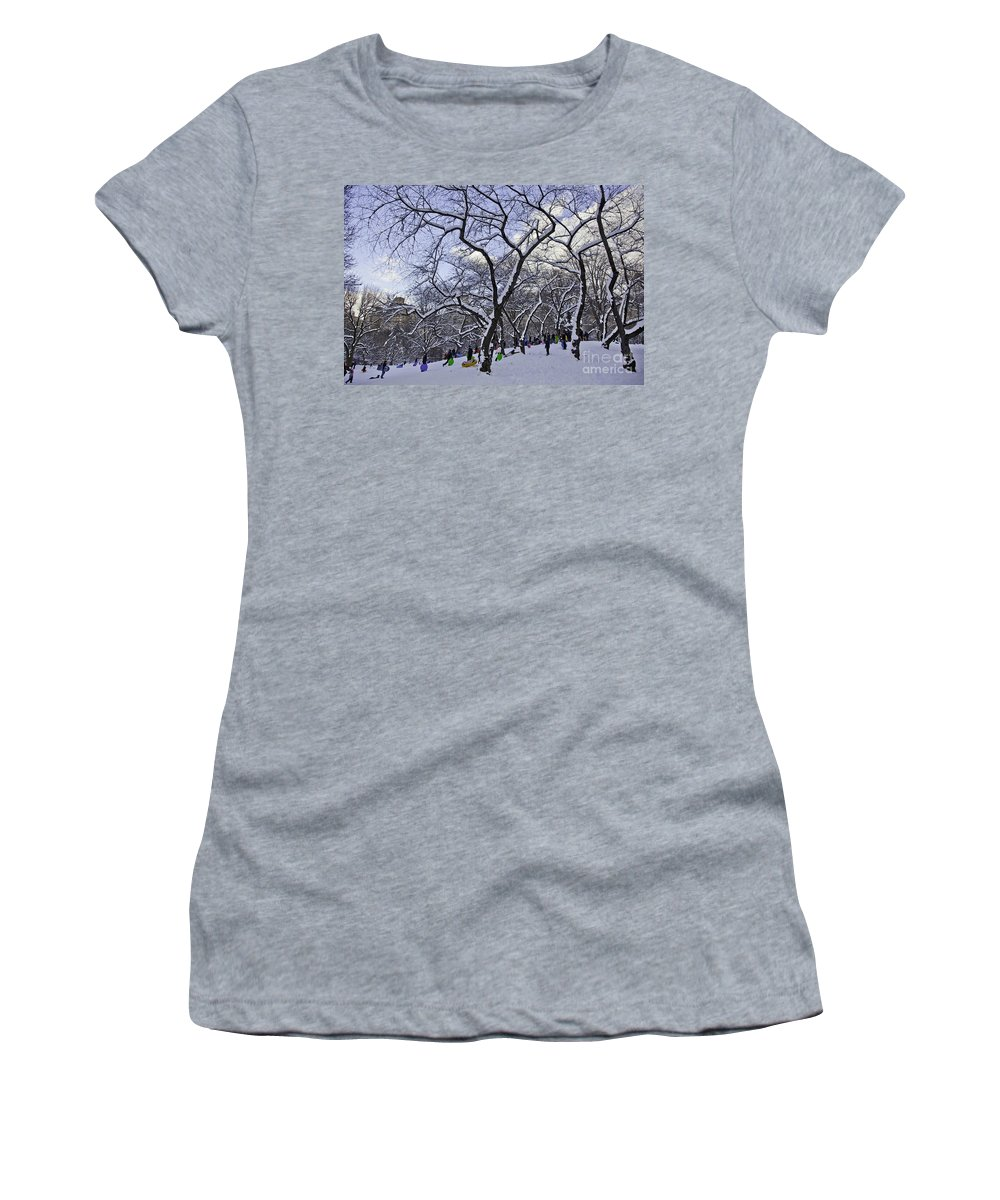 Snowboards Women's T-Shirt (Athletic Fit) featuring the photograph Snowboarders In Central Park by Madeline Ellis