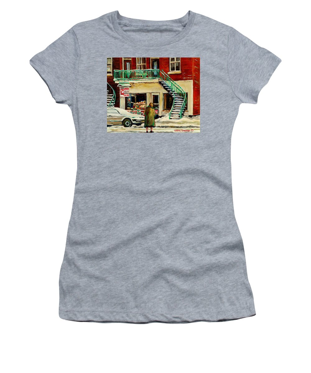 Montreal Women's T-Shirt (Athletic Fit) featuring the painting Snowing At The Five And Dime by Carole Spandau