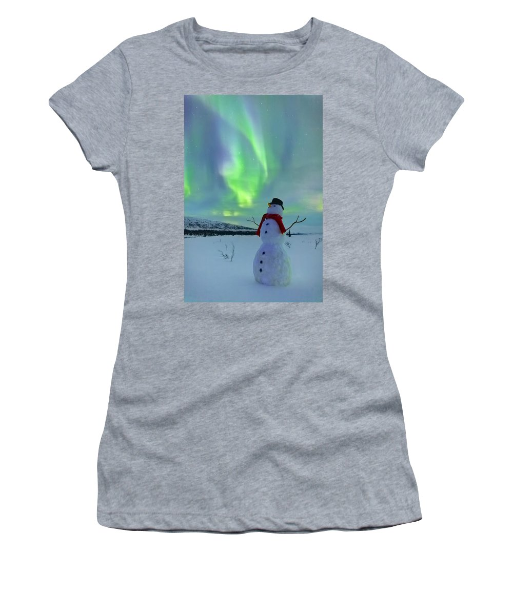 Snowman Women's T-Shirt (Athletic Fit) featuring the photograph Snowman And The Aurora by Kevin G Smith