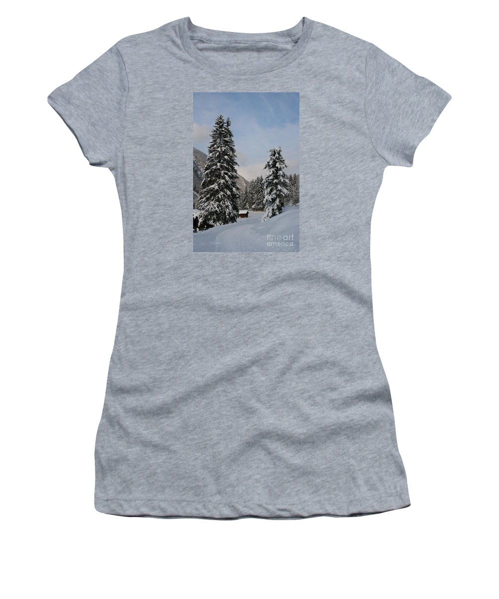 Snow Women's T-Shirt (Athletic Fit) featuring the photograph Snowy Fir Trees by Christiane Schulze Art And Photography
