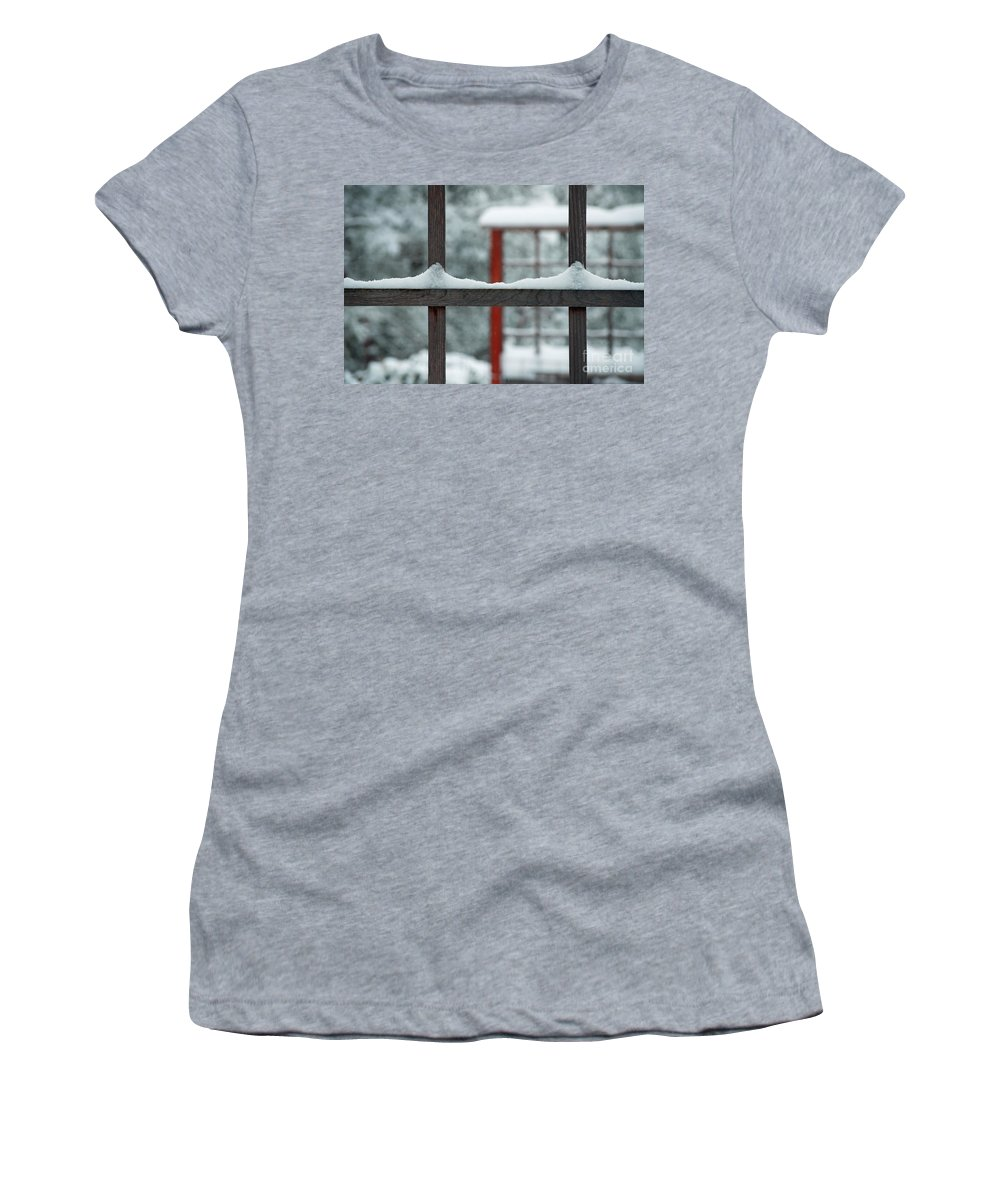 Snow Women's T-Shirt featuring the photograph Snowy Lines by Gwyn Newcombe