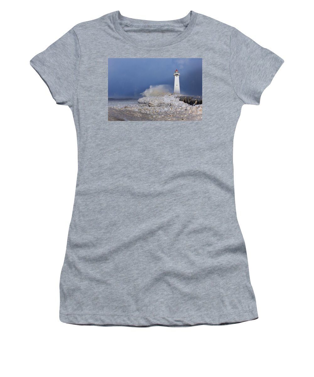 Lighthouse Women's T-Shirt featuring the photograph Sodus Bay Lighthouse by Everet Regal