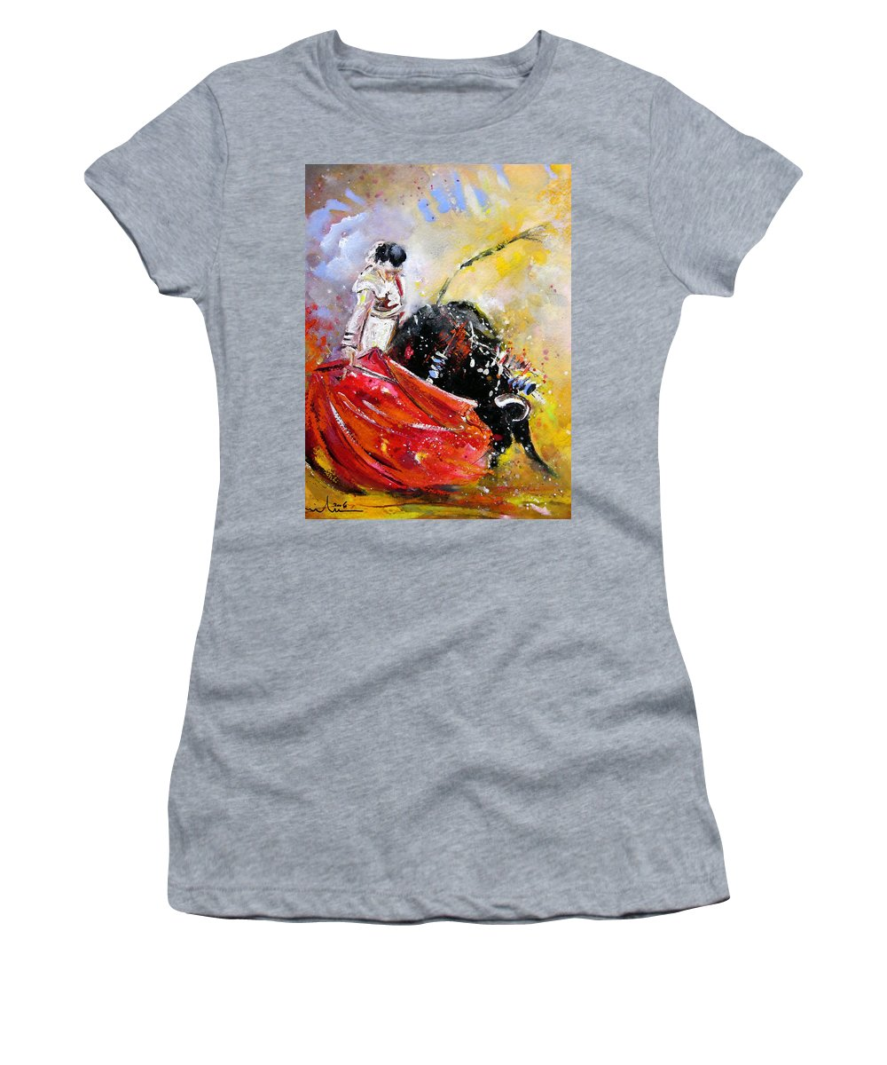 Bullfight Women's T-Shirt (Athletic Fit) featuring the painting Softly And Gently by Miki De Goodaboom