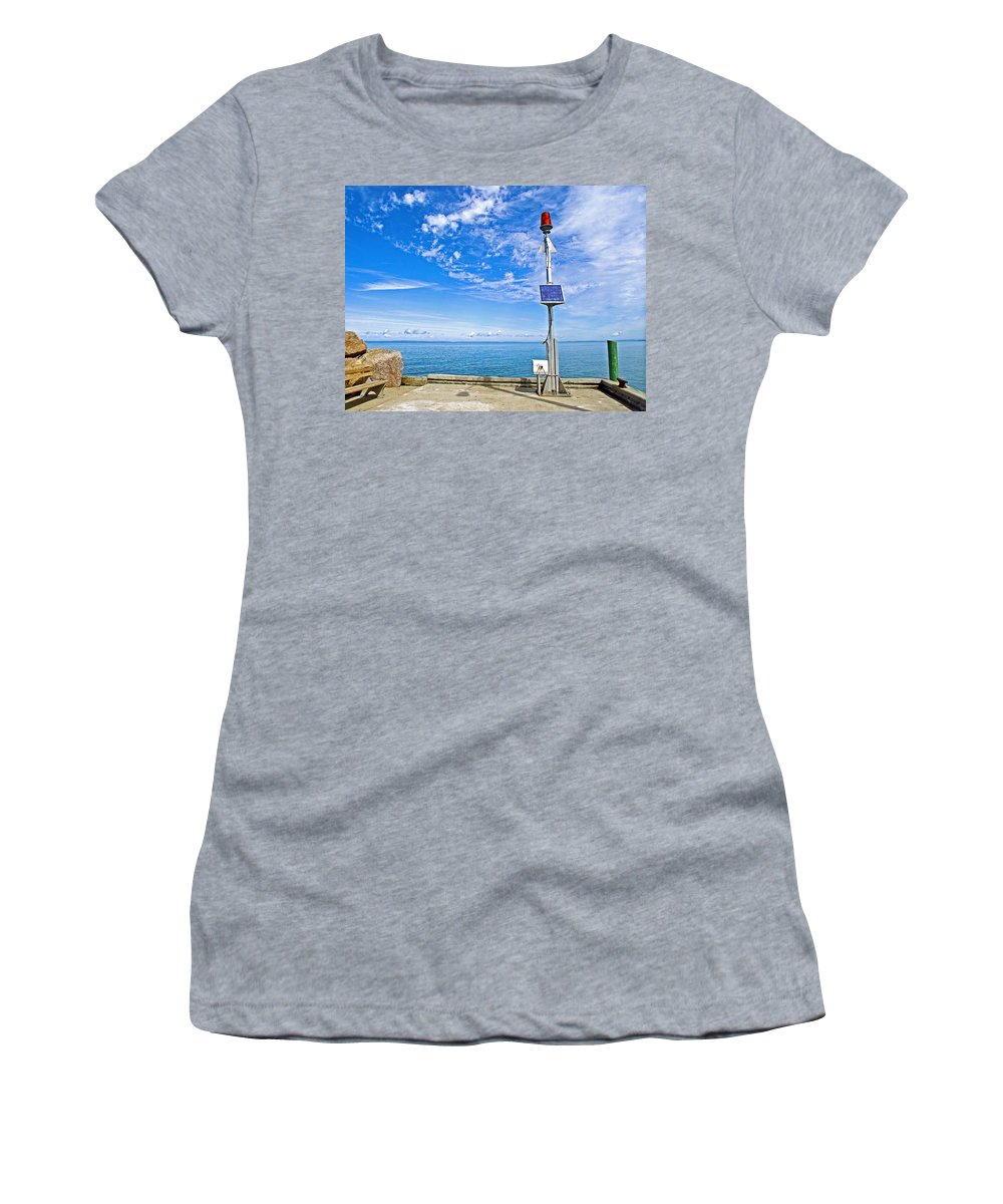 Solar-powered Light In Halls Harbour Women's T-Shirt (Athletic Fit) featuring the photograph Solar-powered Light In Halls Harbour In Nova Scotia-canada by Ruth Hager
