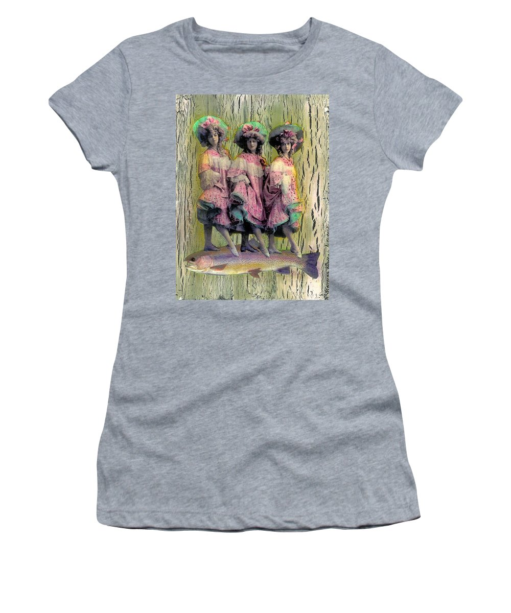Pink Women's T-Shirt (Athletic Fit) featuring the mixed media Somethin' Fishy by Desiree Paquette
