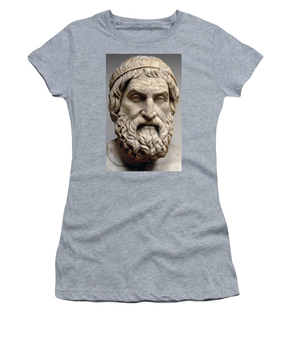 Portrait Bust Of Sophocles Women's T-Shirt featuring the sculpture Sophocles by Greek School