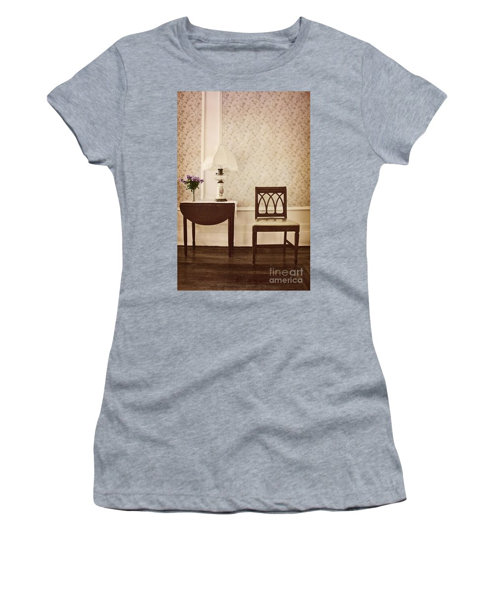 Chair; Table; Inside; Seat; Indoors; Empty; Floral Design; Alone; Brown; One; Interior; Still Life; House; Home; Wall Paper; Pretty; Wood; Floor; Runner; Side; Table; Lamp; Shade; Vase; Flowers; Lilacs Women's T-Shirt (Athletic Fit) featuring the photograph Sprig Of Lilacs by Margie Hurwich
