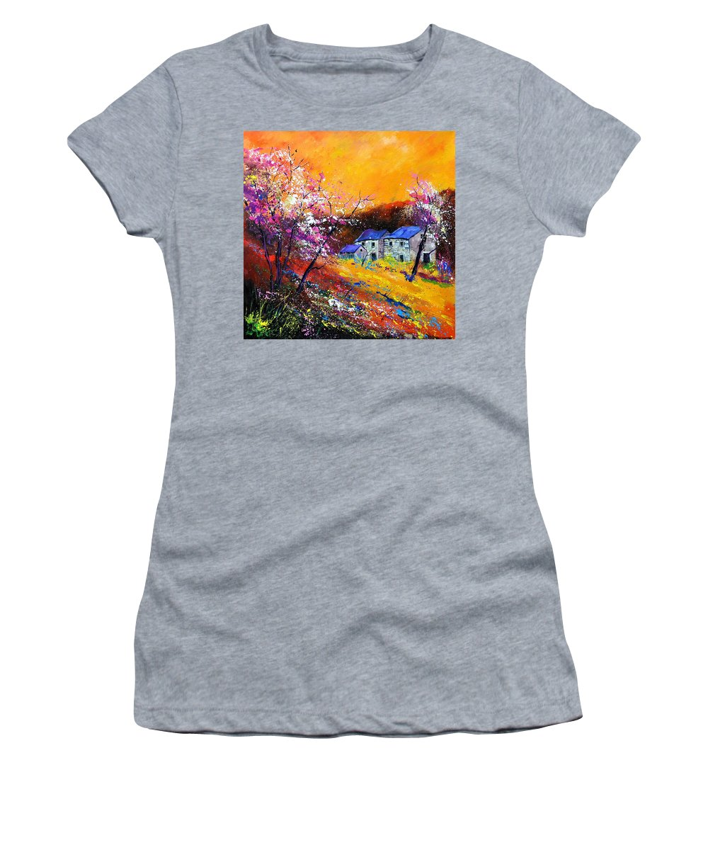 Landscape Women's T-Shirt featuring the painting Spring 883111 by Pol Ledent