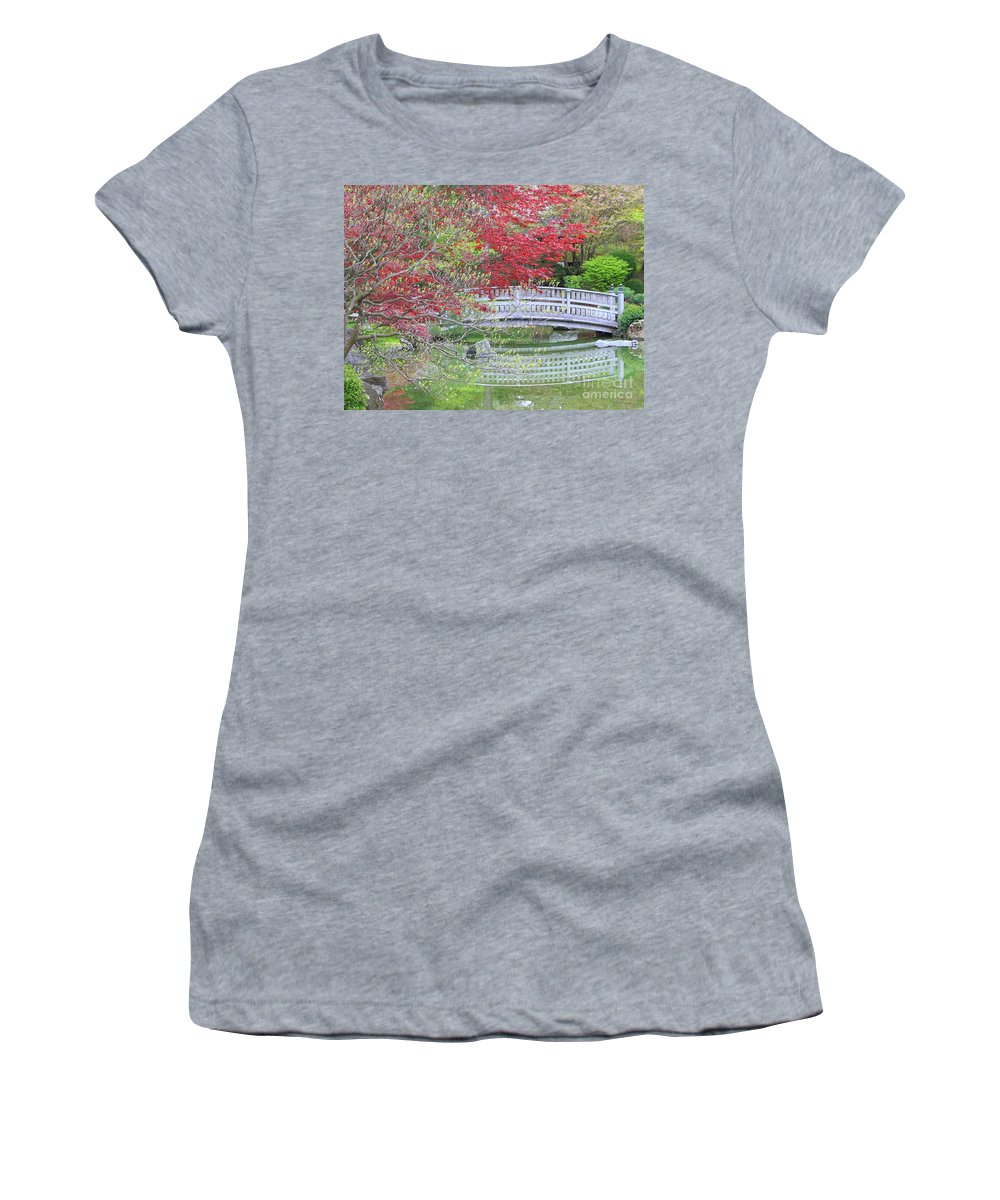 Japanese Garden Women's T-Shirt (Athletic Fit) featuring the photograph Spring Color Over Japanese Garden Bridge by Carol Groenen