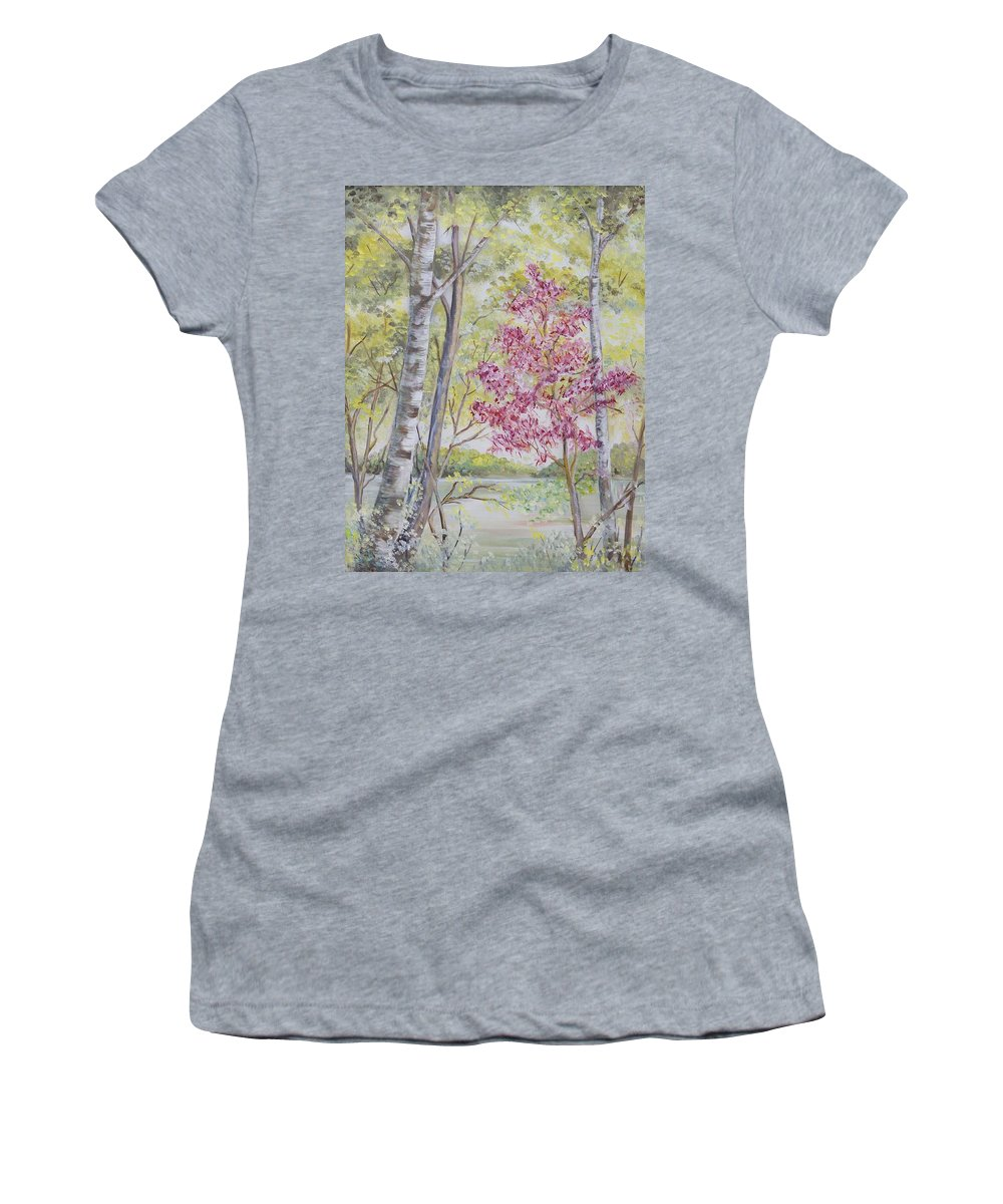 Trees Women's T-Shirt (Athletic Fit) featuring the painting Spring Has Sprung by Gladys Berchtold