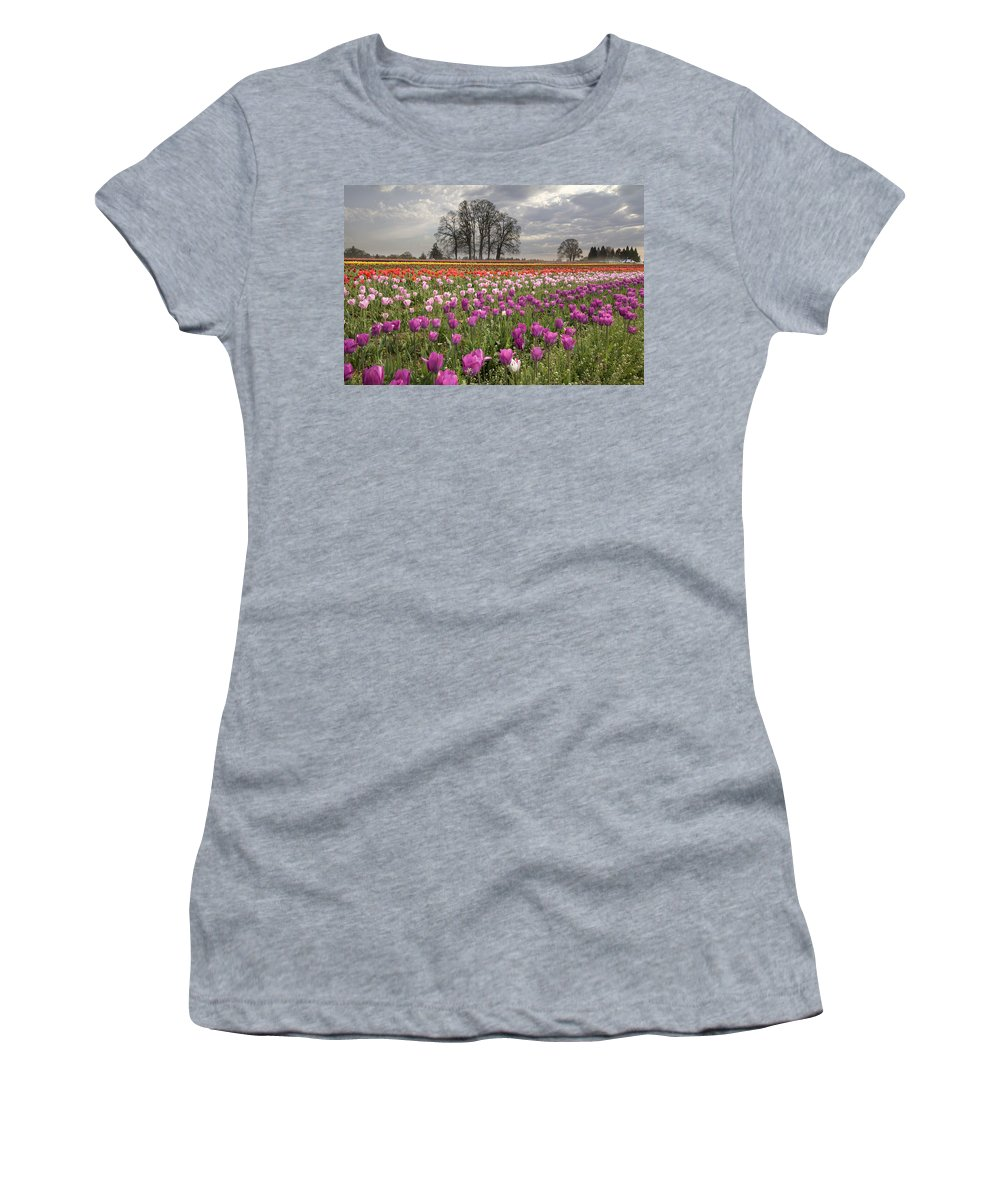 Tulips Women's T-Shirt (Athletic Fit) featuring the photograph Springtime At Tulip Farm by Jit Lim