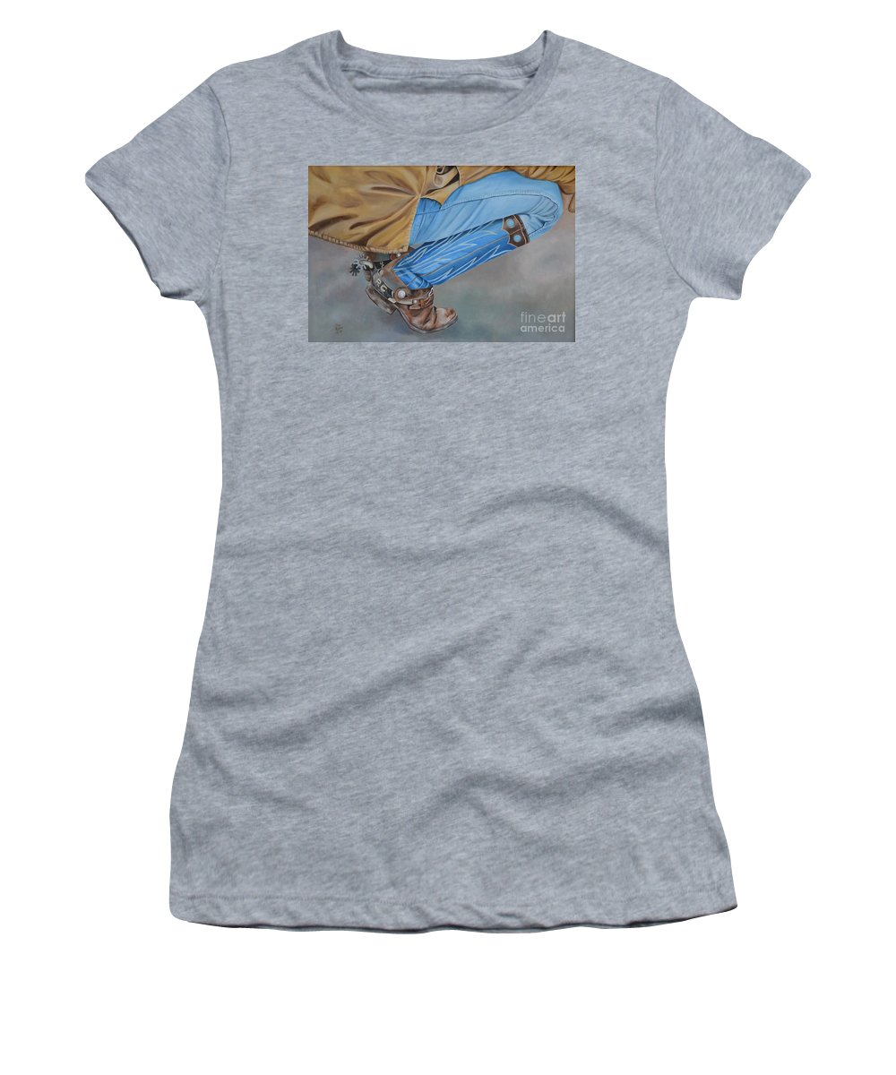 Art Women's T-Shirt (Athletic Fit) featuring the painting Spur Squatting by Mary Rogers
