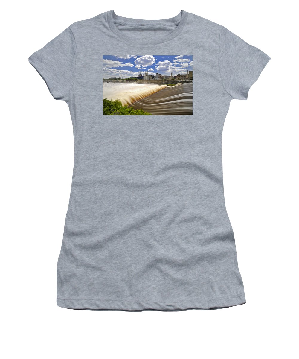 Waterfall Women's T-Shirt (Athletic Fit) featuring the photograph Woosh by David Berg
