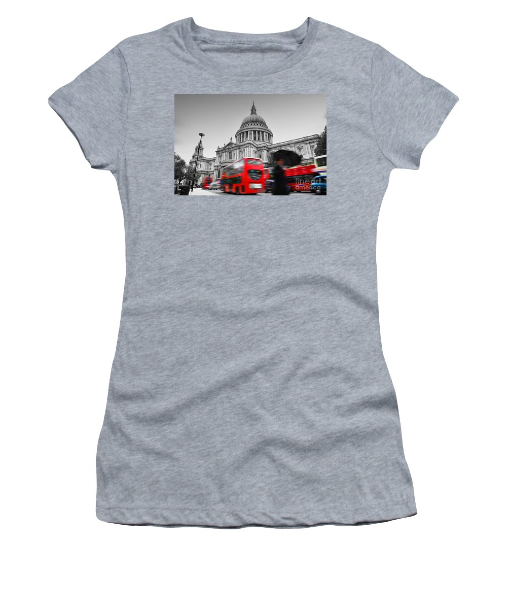 London Women's T-Shirt featuring the photograph St Pauls Cathedral In London Uk Red Buses In Motion by Michal Bednarek