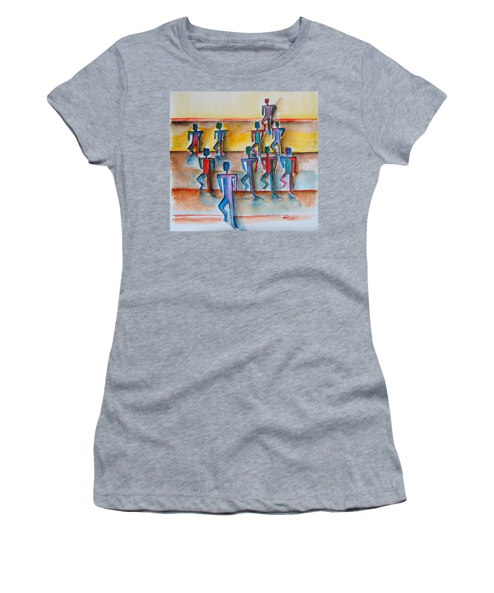 Stickman Women's T-Shirt (Athletic Fit) featuring the painting Stickman Performers by Elaine Duras