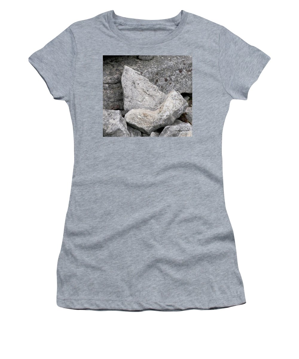 Stone Tooth Shark Tooth Stone Tooth Shaped Rock Geology Gray Rocks Gray Stones Appalachian Landscapes Stonescape Rockscape Natural Design In Nature Prints Strange Nature Fossil Imposter Women's T-Shirt (Athletic Fit) featuring the photograph Stone Tooth by Joshua Bales