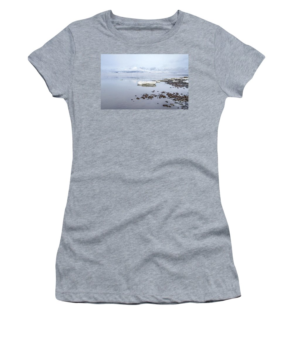 Iceland Women's T-Shirt (Athletic Fit) featuring the photograph Stream Of Stillness by Evelina Kremsdorf