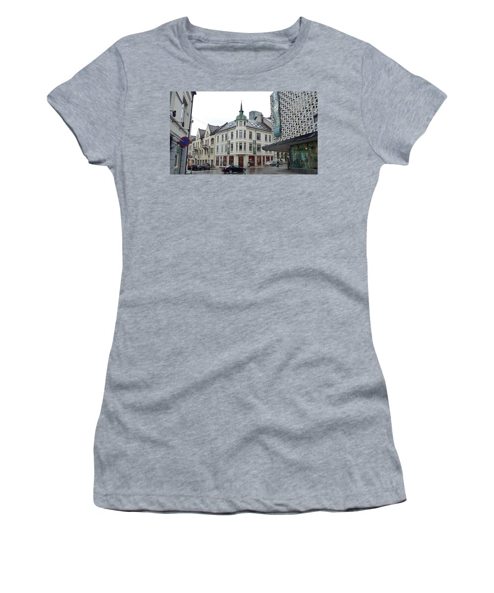 Women's T-Shirt featuring the photograph Streets Of Aalesund by Katerina Naumenko