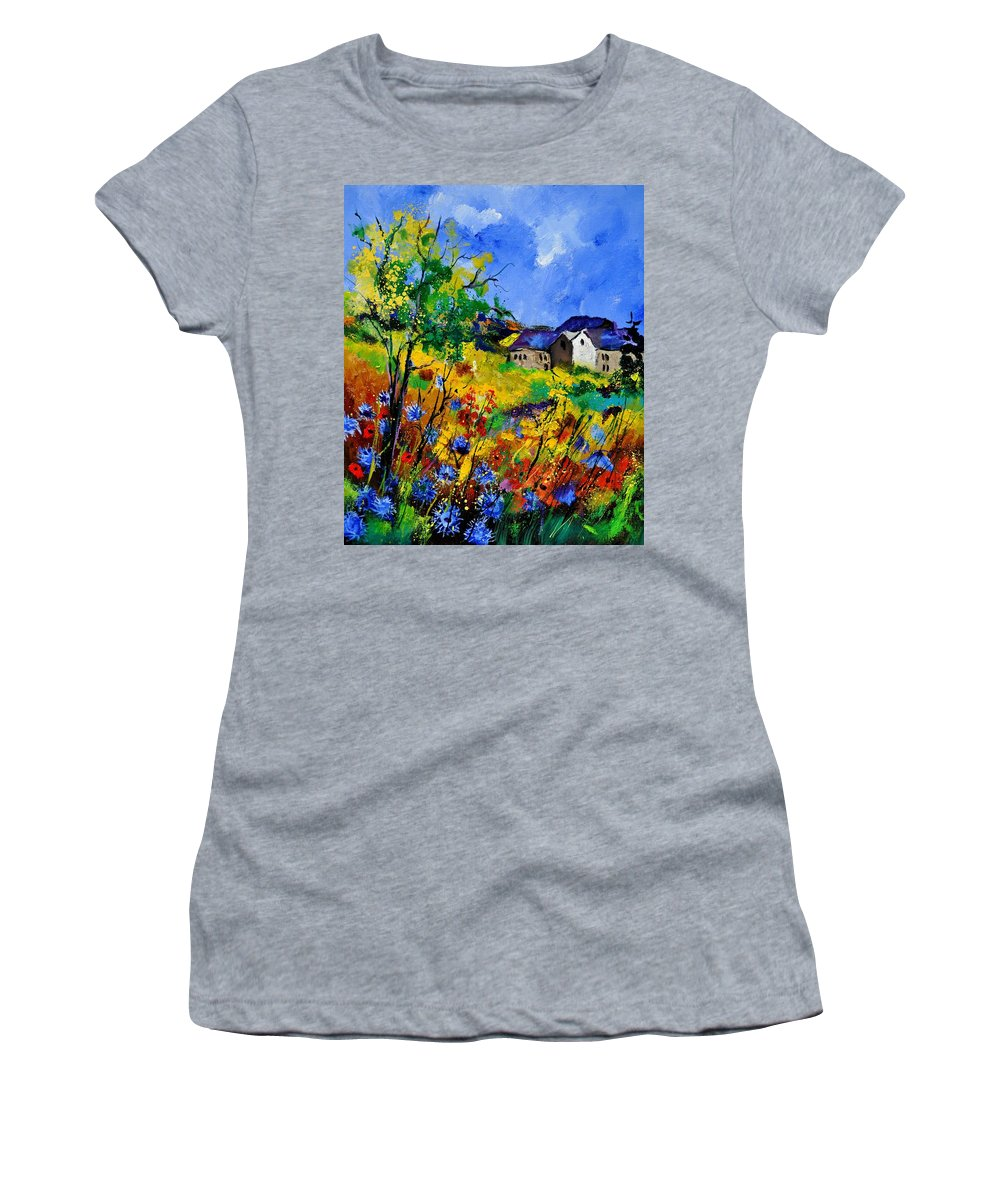 Landscape Women's T-Shirt featuring the painting Summer 673180 by Pol Ledent
