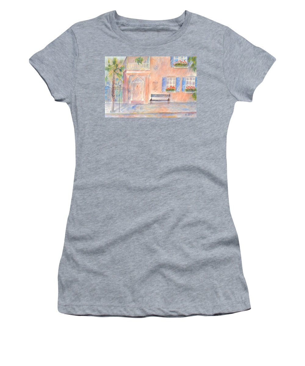 Charleston; Low Country; Palmetto Tree Women's T-Shirt (Athletic Fit) featuring the painting Sunday Morning In Charleston by Ben Kiger