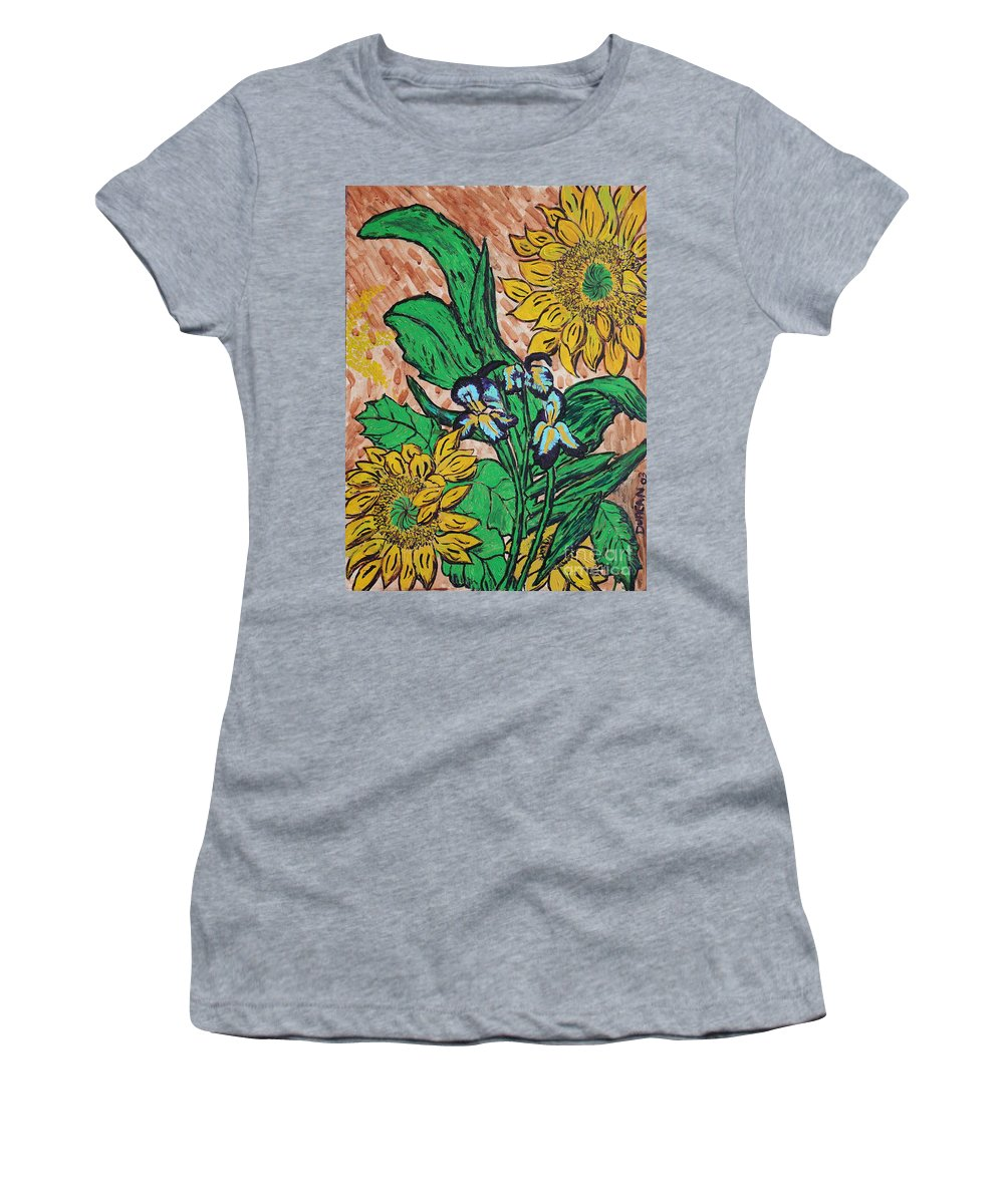 Van Gogh Women's T-Shirt (Athletic Fit) featuring the painting Sunflowers And Irises by Stefan Duncan